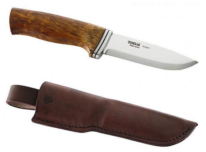 Helle Jagd-/Outdoormesser, Alden, Sandvik 12C27, rostfrei, Birkenholz-Griff, Lederscheide
